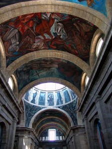 Pictures of Jose Clemente Orozco murals at the Cabanas building in Guadalajara Mexico paintings murals